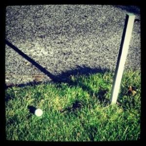 bola golf cerca carretera fuera de límites